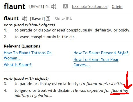 """Flaunt"""" and """"Flout"""" are NOT the same thing – I'm pointing at"""